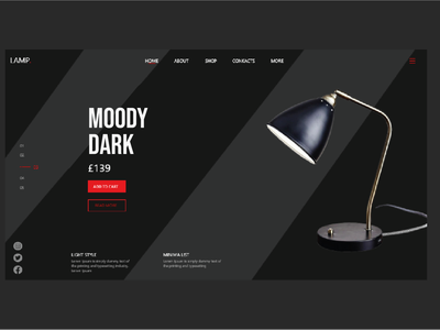 Lamp web header UI ecommerce design ecommerce lamp ui desine logo moody red grey gray lamp post lamp light illustration uiux designs ux ui design designer brand brand design design ui