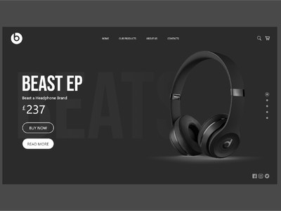 Beats headphones promotion web UI design art headphone company ecommerce design ecommerce beastheadset beast head headset headphone adobe xd logo designs app ux ui design brand designer brand design design ui