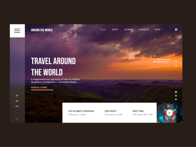 Around-The-World Travel Website header UI Design sky travel adobe illustrator around the world art travel app ecommerce adobe xd ux design branding designs illustration designer ui design brand design design ui
