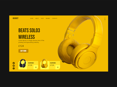 Beats web UI Design headphone ui headphone headset style yellow black branding beats ui beast designs logo typography app vector ui design designer brand design design ui