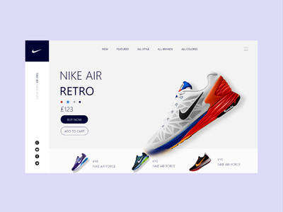 Nike web UI design nike air retro shoe design nike shoes uielements nike ui nike ecommerce design ecommerce uiux logo designs vector ui design designer brand design design ui