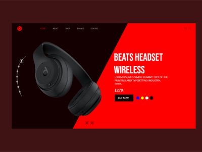 BEAST HEADPHONE UI DESIGN slider red redshift headset headphone beats ecommerce design typography ecommerce brand designer illustration branding ui design brand design design