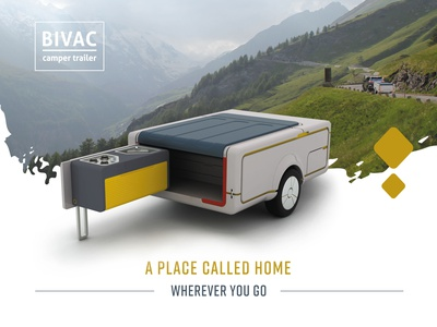 Product design - Bivac the camping trailer rendering grapgic design product design transportation design poster design flyer design