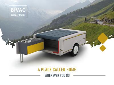 Product design - Bivac the camping trailer rendering grapgic design product design transportation design poster design flyer design