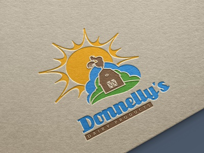 Logo design - Donelly's dairy products dairy products rooster sunrise meadow farm sun logo design icon logomark logodesign