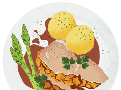 Web food illustration - German cuisine foodillustration illustrator adobe vector plate menu klos stew dish digitalart artwork drawing graphic restaurantbusiness food illustration appdesign graphicdesign restaurant webdesign