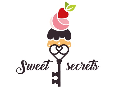 Logo design - sweet recipes secrets key cupcake recepie sweet tooth sweets food logo logomark logodesign graphicdesign illustration