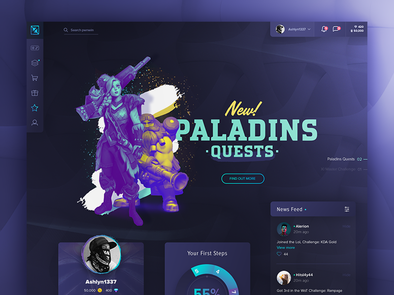 eSports Gaming Platform ux ui responsive redesign paladins mobile masthead interface gaming esports dashboard