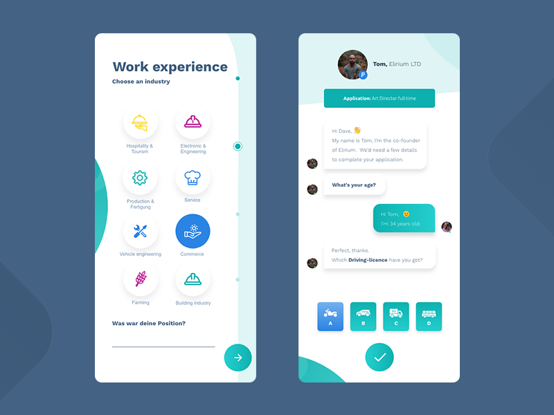 Chat & Form UI - White job app job application job app responsive mobile design webdesign ux ui