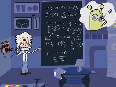 Einstein talking with Aliens illustration drawing illustrator cartoon