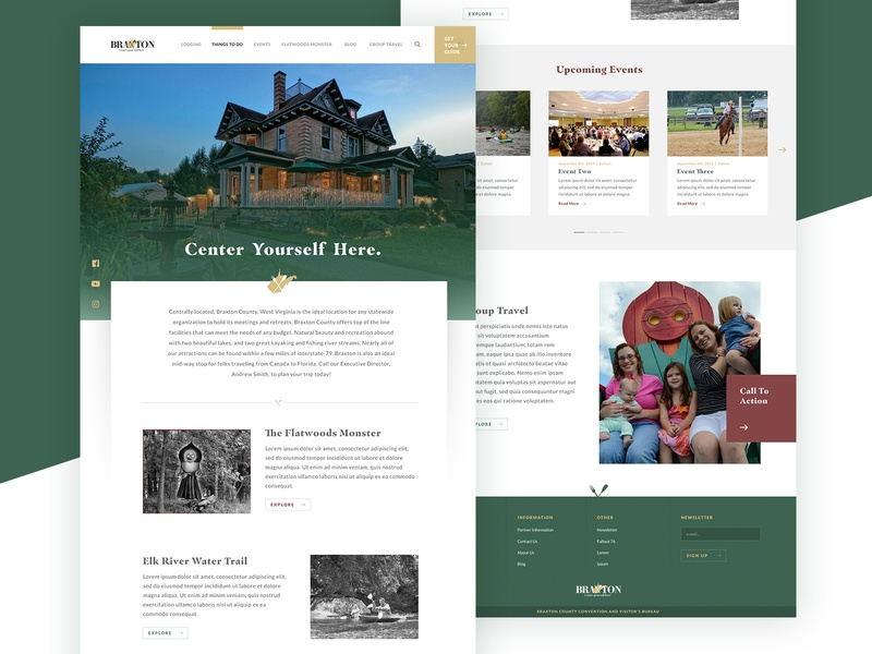 Braxton Redesign fallout identity homepage itinerary wv west virginia cvb web design website design website tourism travel web ux ui