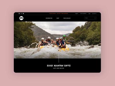 Raft Company Website product whitewater community ecommerce rafting raft branding website design homepage web ux ui tourism travel web design website