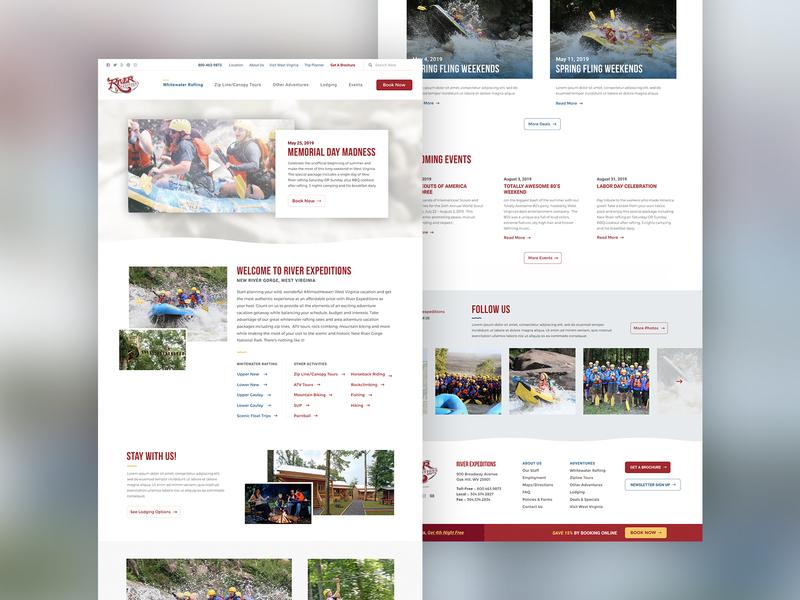 Rafting Company Website web design travel agency wv whitewater rafting traveling tourism ux ui travel web design