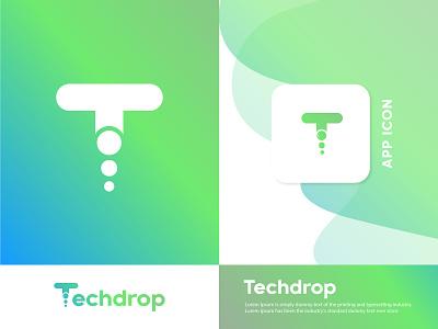 Techdrop technology ui brand design modern logo logo designer branding vector tech mobile app app icon gradient creative modern logo design logo