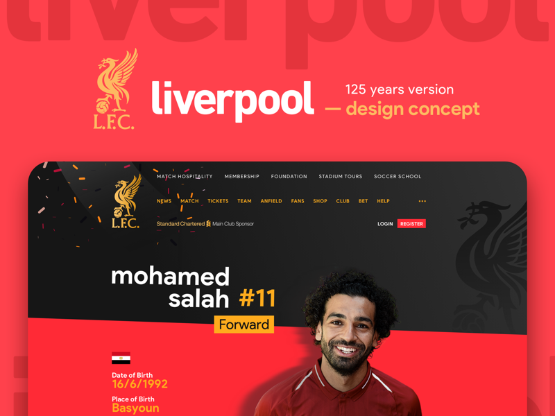 Liverpool 125 years anniversary edition design concept mosalah liverpool football ux ui