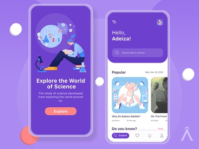 Science Research App UI Concept science app design mobile app mobile ui mobile mobile app design ux illustration uiux ui  ux design ui design ui uidesign figmadesign figma design