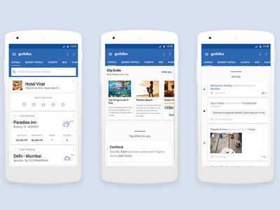 Travel and Hotel Booking app - Goibibo ux ui icons application app city guide travel search reviews hotel cards booking