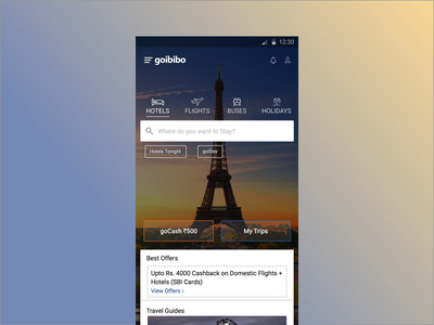 Travel App Home Page search hotels app design ux ui travel
