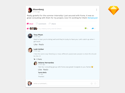 Post with Comments groups facebook social ux ui sketch freebie download app comment