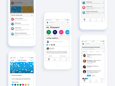 ambi for work and education - WIP education notification newsfeed ux user interface ui groups iphone ios design android ambi