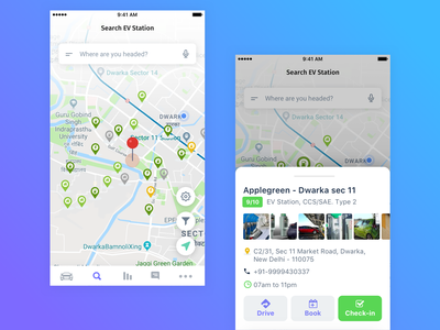 EV Charging App ev app search electric car navigation map icons ux design ui