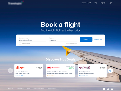 Travel B2B Landing page login box website offers deals branding flight booking landing page login flight icons ux design ui