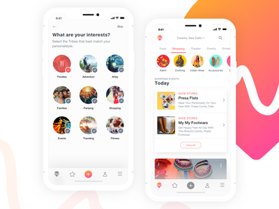 Whatshot - Personalization & Shopping events shopping deals recommendations personalized travel branding interface mobile ui ux app design