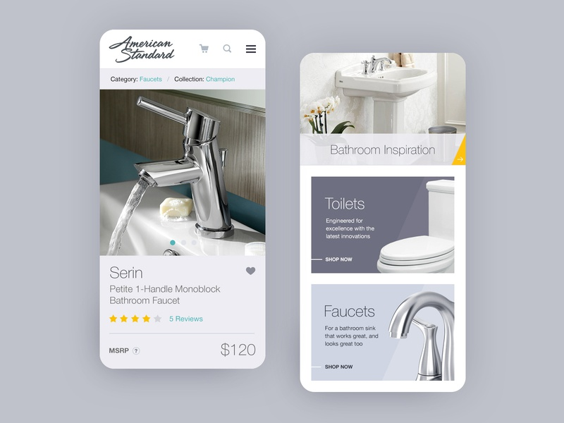 AS Mobile grey bathroom sink toilet shopping ecommerce faucet mobile website design website