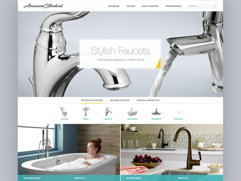 Stylish Faucets icons shopping ecommerce faucet kitchen bathroom homepage website design website