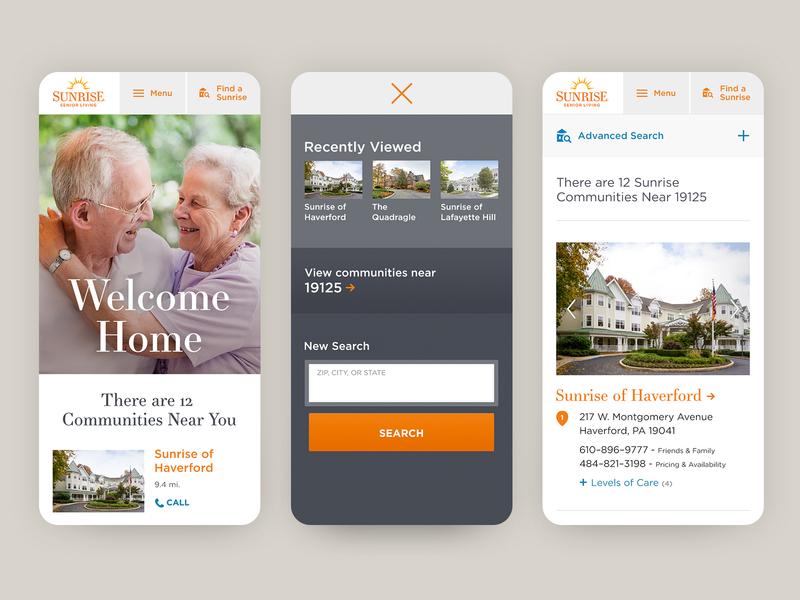 Sunrise Senior Living Mobiles recently viewed geolocation community housing search orange seniors mobile website design website