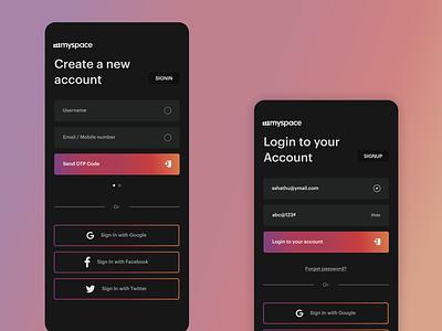 myspace - Re-Design app branding design ux ui