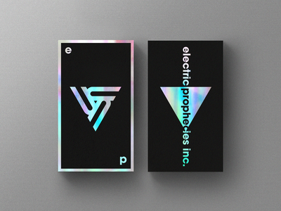 Electric Prophecies inc. geometic logo triangle classy sleek modern sticker card business businesscard iridescent holographic foil foiling rainbow