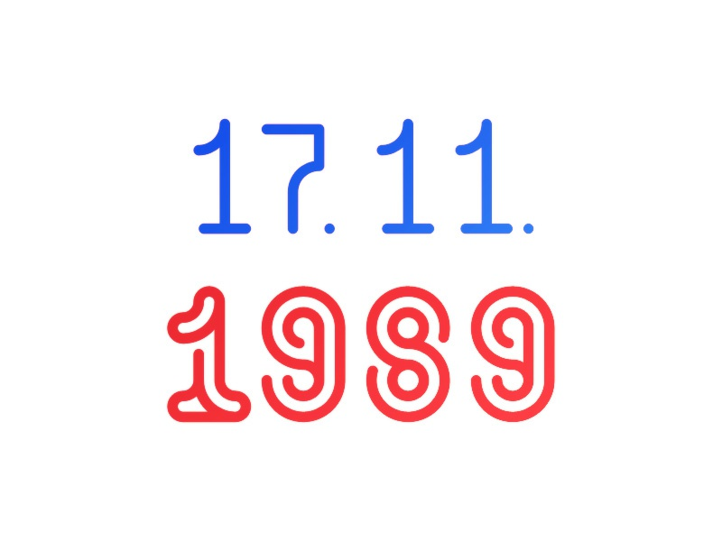17.11.1989 blue lettering numbers date typography red