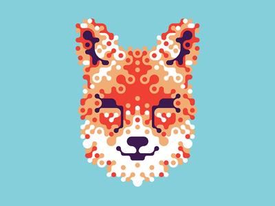 Grained fox (textless) experimental typography orange blue fox