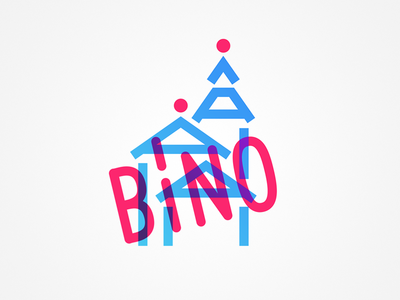 BÍNO illustration minimalism logo minimal building church blue magenta exposure double cyan pink
