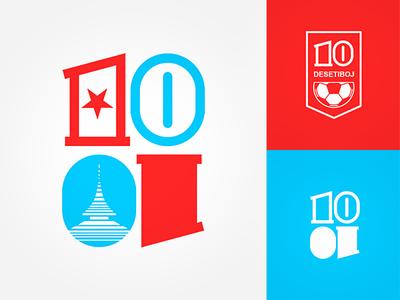 Desetiboj team ten 10 blue red custom logo ball football soccer handball event sport