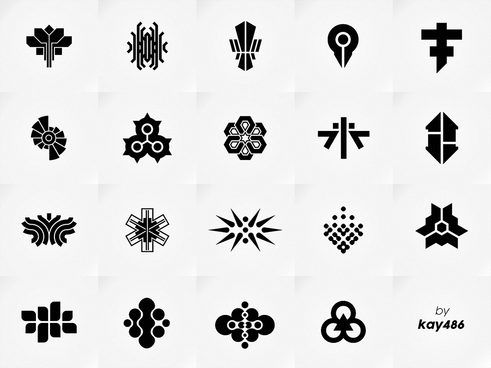 Abstract symbols abstract design clean simple symetric symetry black  white white black icon mark symbol logo