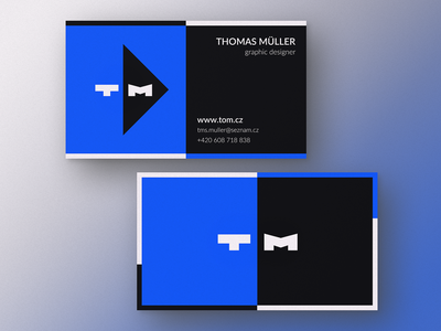 tom.cz card monogram business card card black and blue black blue flower branding logo logotype font letter lettering wordmark icon simple clean text typography