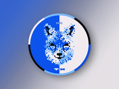 Blue Fox Coaster circle rounded black and blue blue and white white and black round coaster stylized dog fox blue
