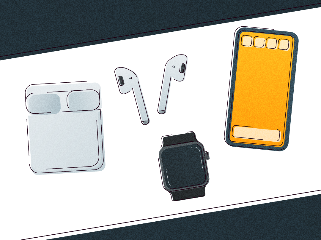 Tech Icons thin line modern art icon icons flat clean digital design iphone airpods apple watch apple