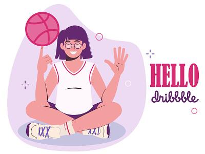 hello dribble flat web vector illustration design