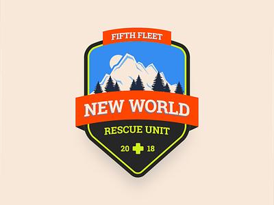 New World Rescue Unit Badge monster hunter world video game nature mountain illustration retro badge mhw