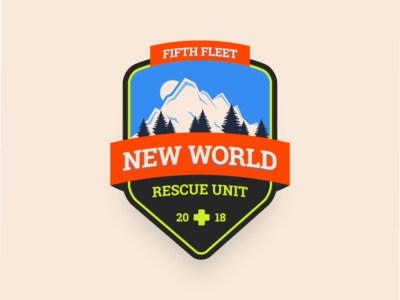 New World Rescue Unit Badge monster hunter world video game nature mountain illustration retro badge mhw