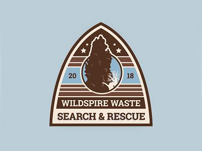 Wildspire Waste SAR Badge monster hunter world video game desert illustration retro badge mhw