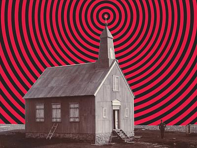 Brain Waves optical illusion pattern red illustration