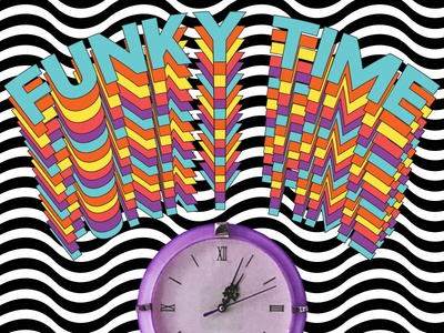 Funky Time illusion funky type colourful bold illustration