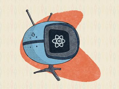 Atomic Television Set distressed halftone nuclear television tv illustration retro 1950s atomic era