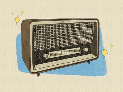 Atomic Radio distressed atomic era radio 1950s atomic futurism retro illustration