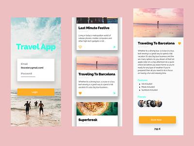 Travel app flat graphic design website art web ux design ui app