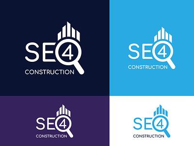 SEO Construction Company Logo graphic designer seo icon seo logo flat logo logo design logo design concept minimalist logo minimalist logotype logo designer logodesign logo minimal